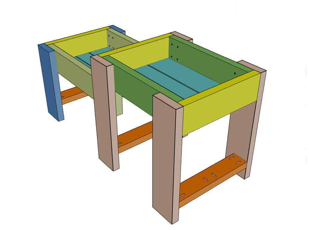 lower and upper frame attached for DIY Sensory Table