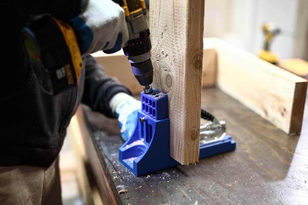 using kreg jib to drill pocket holes for DIY Sensory Table
