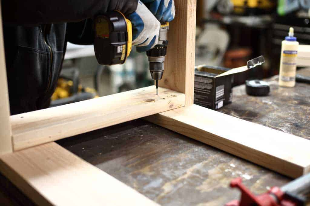 attaching wood together for DIY Sensory Table