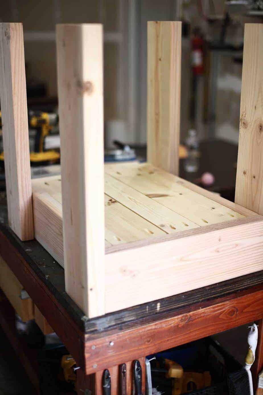bottom boards of the upper frame for DIY Sensory Table