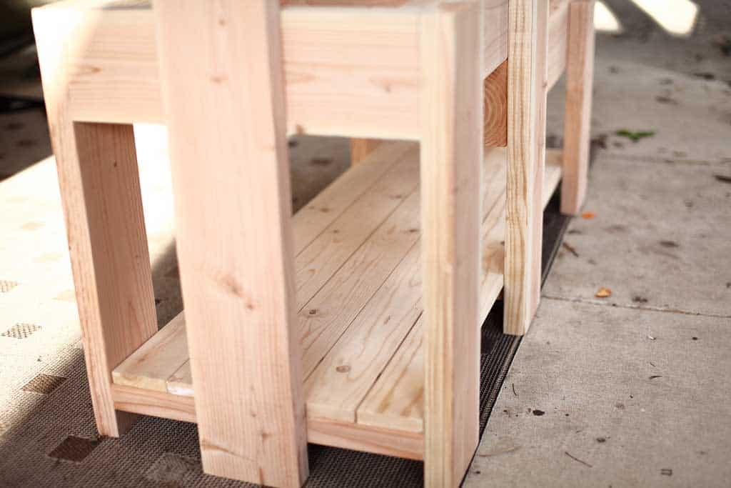 bottom shelf boards for DIY Sensory Table