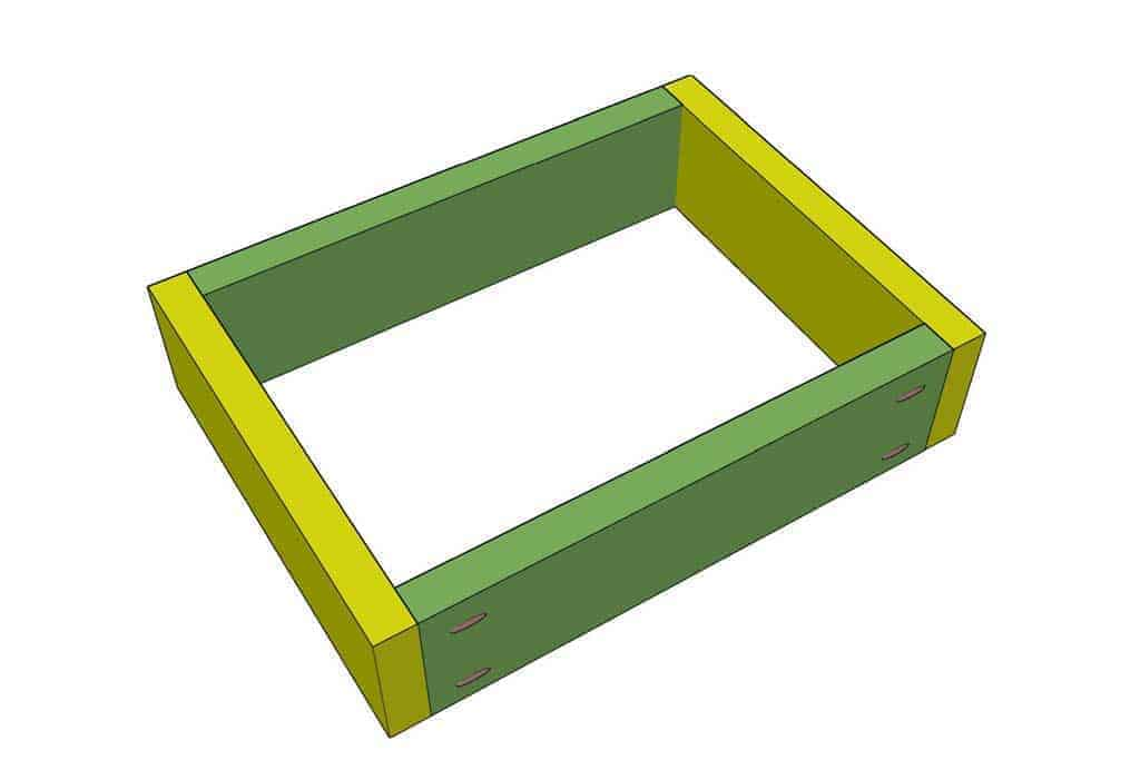 upper frame boards attached for DIY Sensory Table