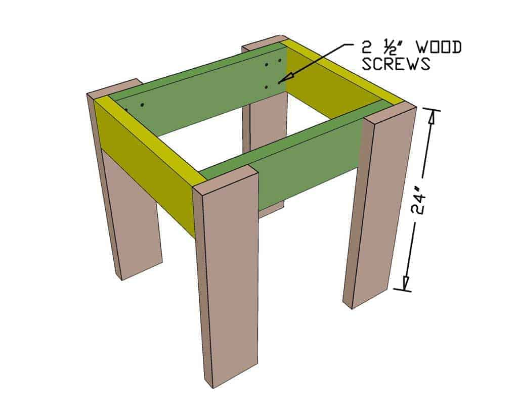 legs attached for DIY Sensory Table