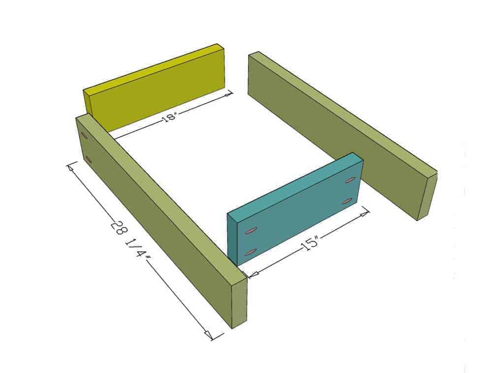 DIY Sensory Table lower frame boards