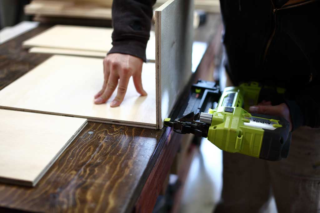 nailing drawer boxes for DIY Garage Cabinets