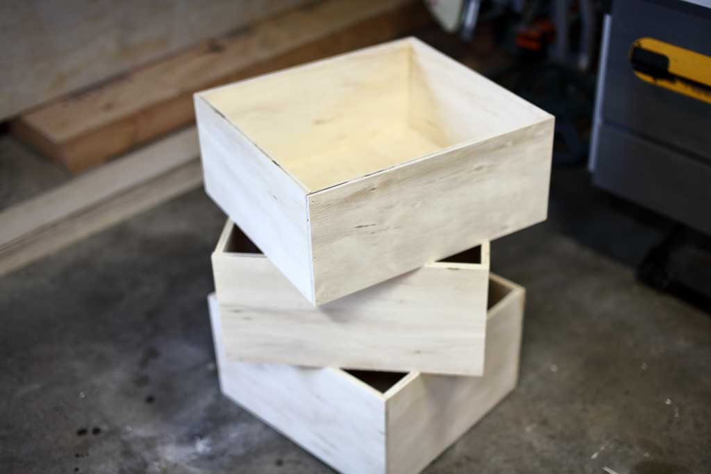 drawer boxes for DIY Garage Cabinets