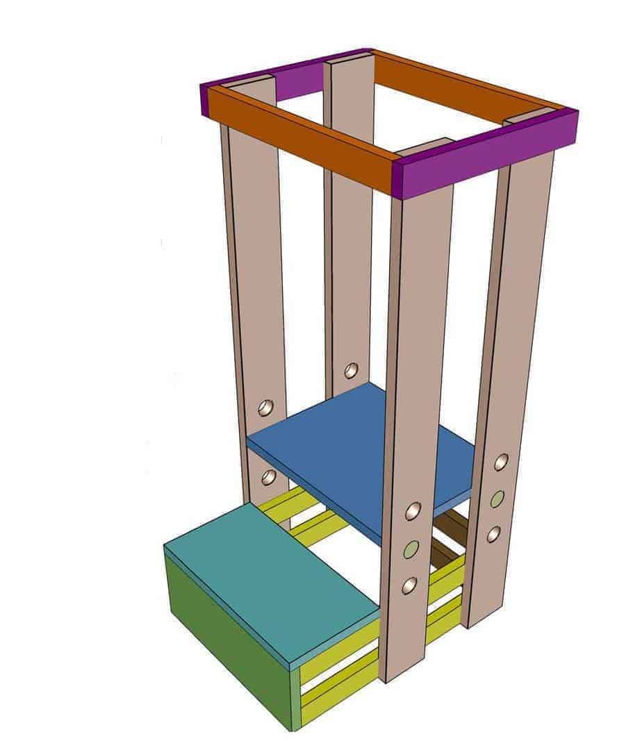 attach frame on the top of legs for the DIY Toddler Step Stool