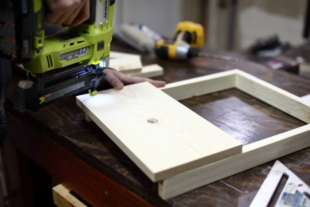 attaching the lower step for the DIY Toddler Step Stool