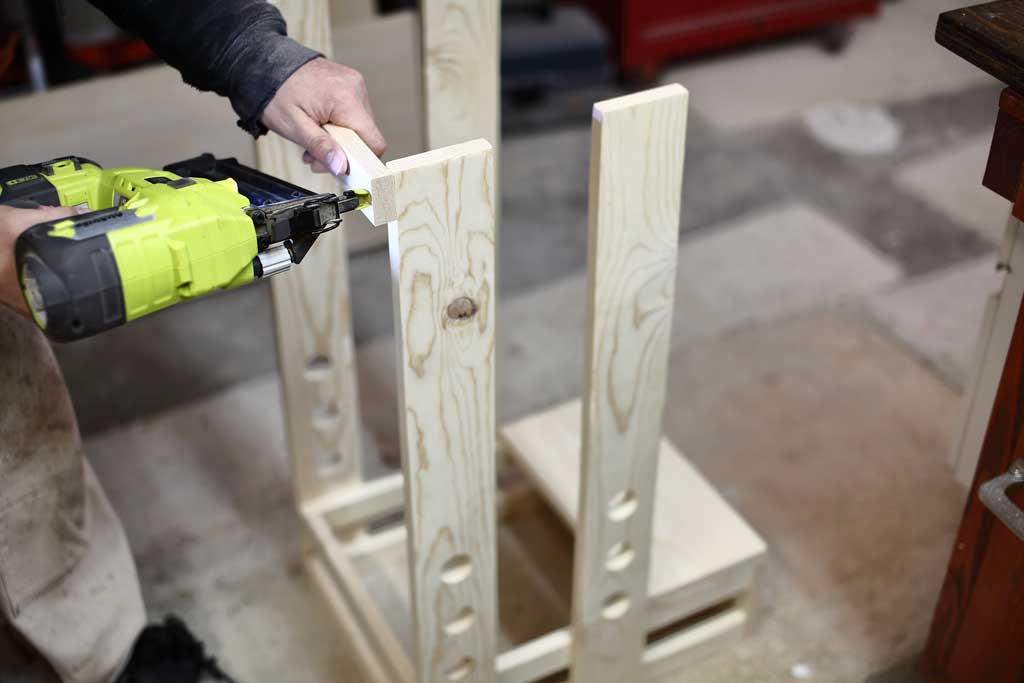 nailing the guard rails for the DIY Toddler Step Stool