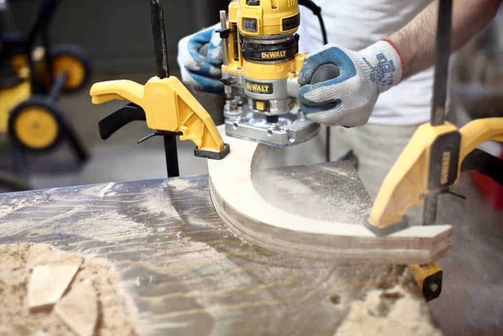 using wood router to trim plywood