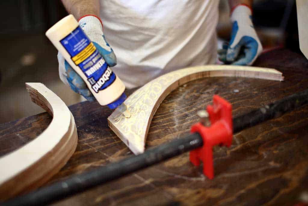using wood glue to glue plywood together