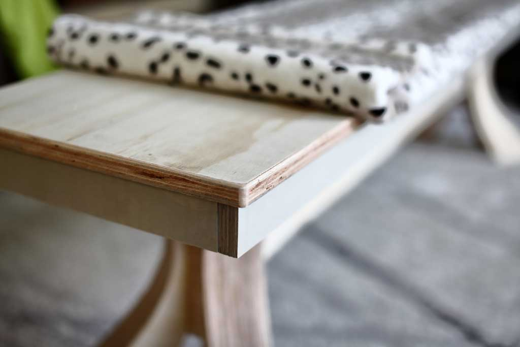covering bench top with fabric
