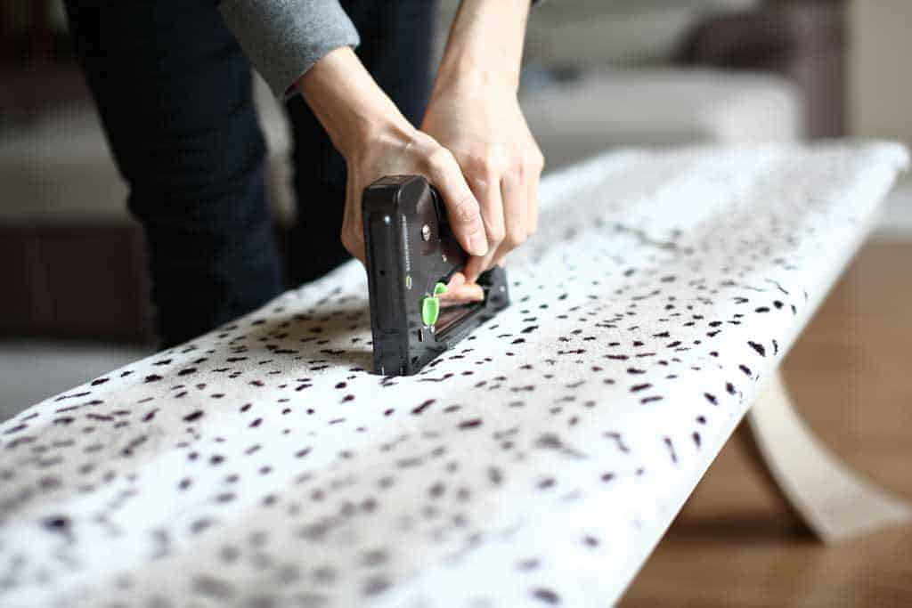 stapling fabric to bench top