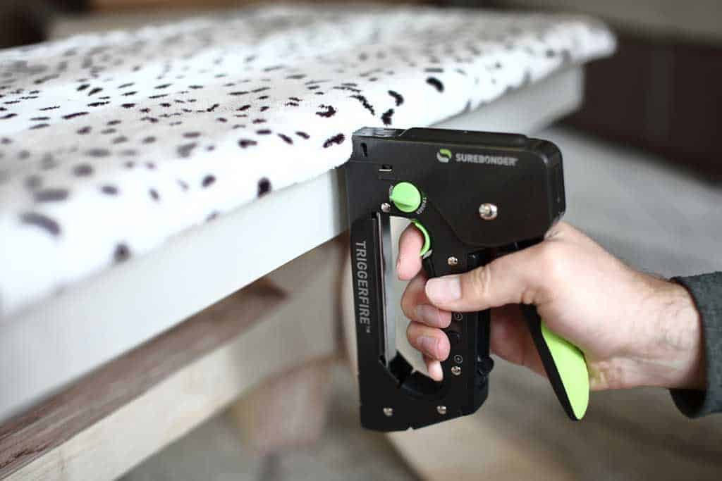 stapling fabric to bench top seating