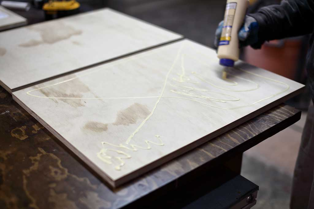 gluing two plywood pieces together