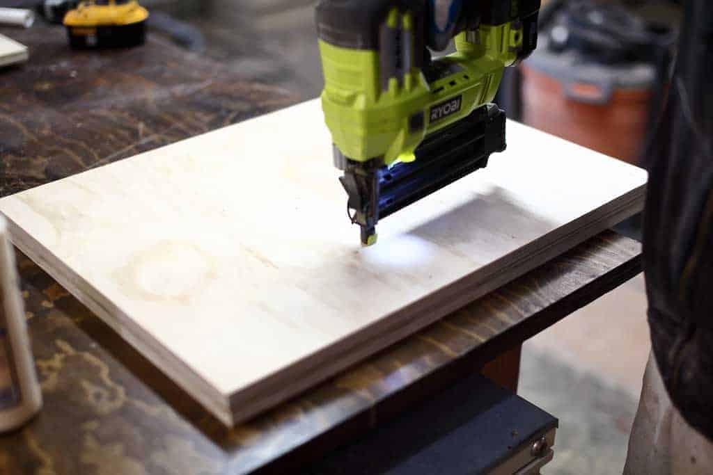 using nail gun on the plywood