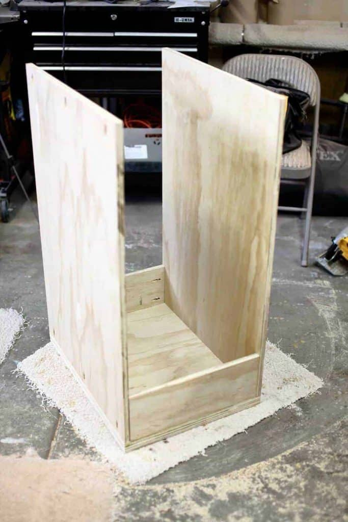 attaching side pieces for the DIY Mobile Tool Cart with Pegboard