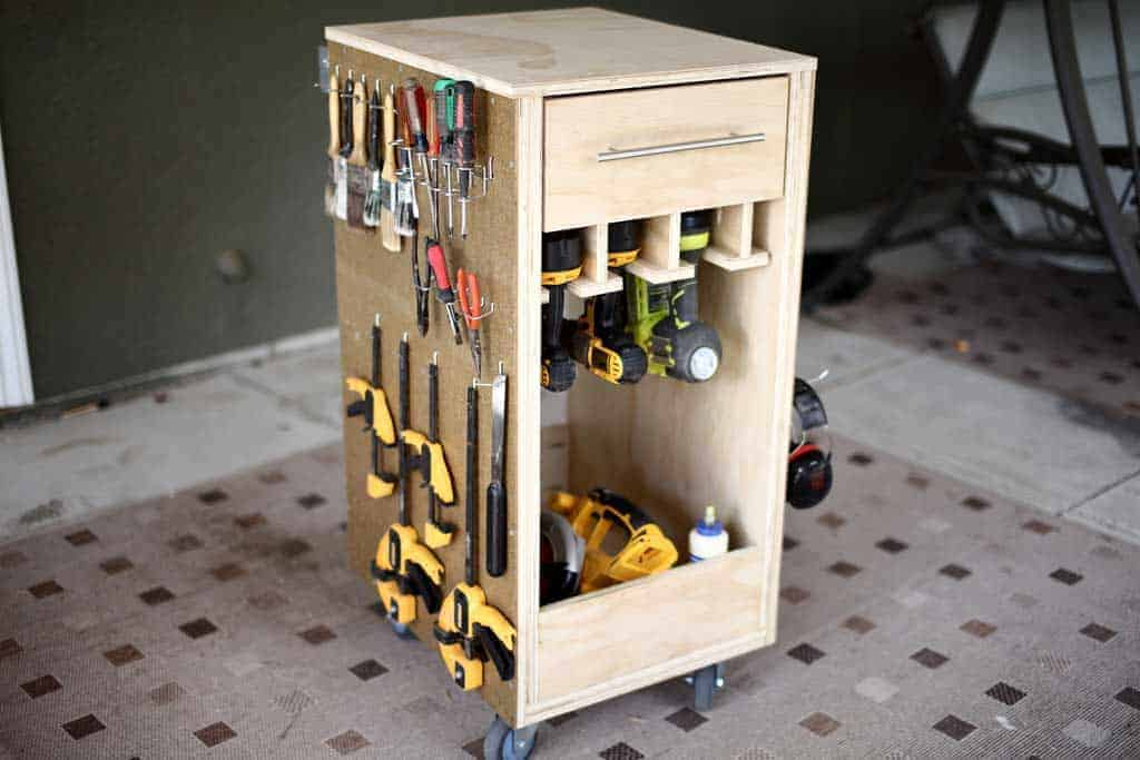 DIY Mobile Tool Cart with Pegboard