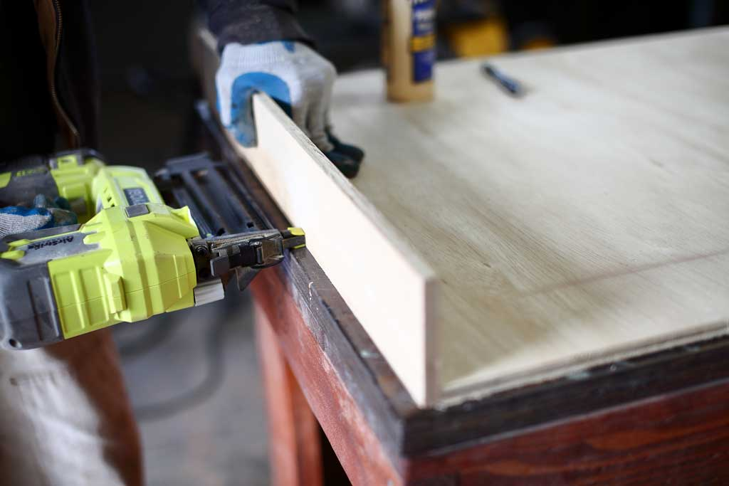 using nail gun to nail plywood