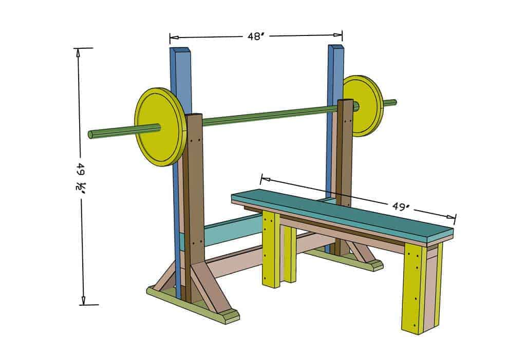DIY Workout Bench Press dimensions