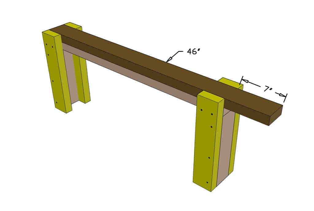 add 2x4 support for the bench