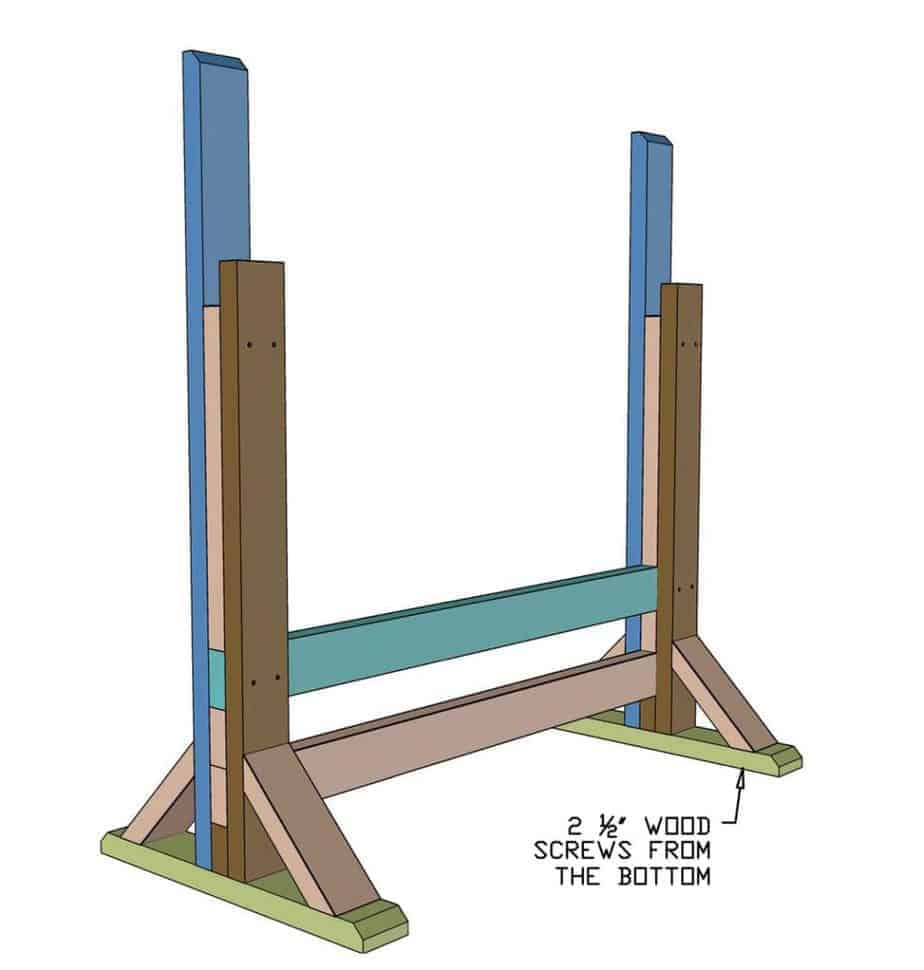 attach front board of the bench press stand