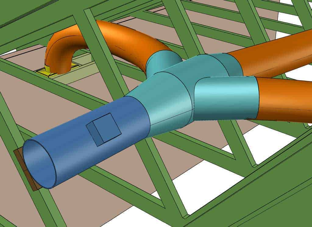 connecting flex duct to wye branch for whole house fan
