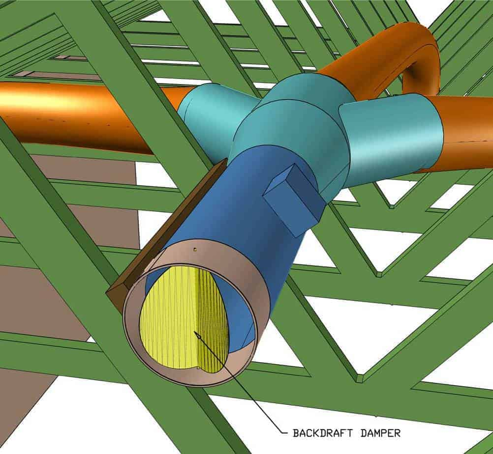 attaching backdraft damper to whole house fan