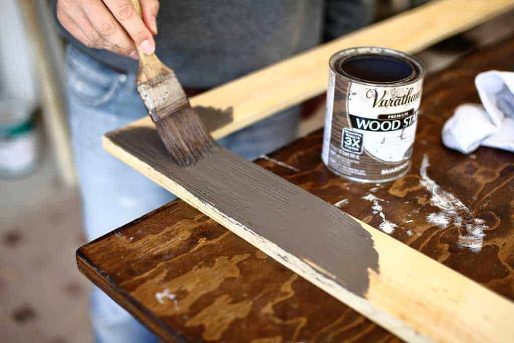 staining DIY mirror frame