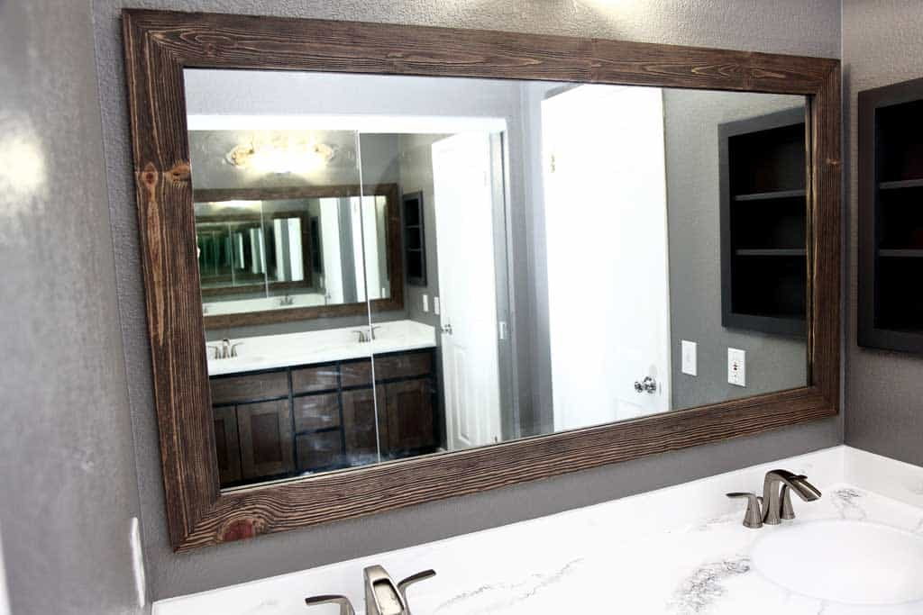 DIY bathroom mirror frame
