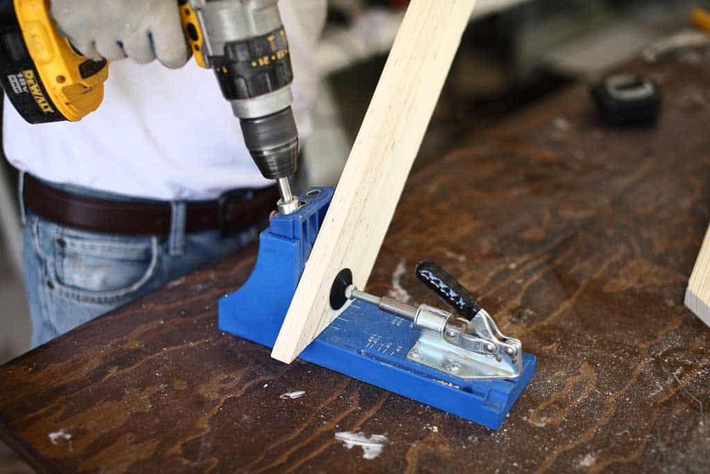 drilling pocket holes for the DIY mirror frame