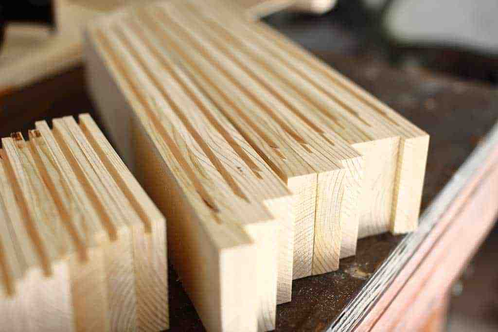 grooves cut for cabinet doors