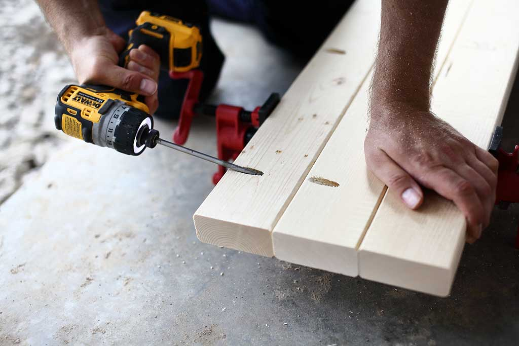 attaching tabletop boards with pocket hole screws