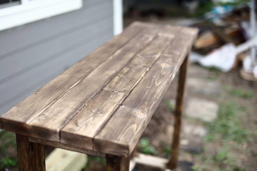 staining DIY farmhouse entryway table