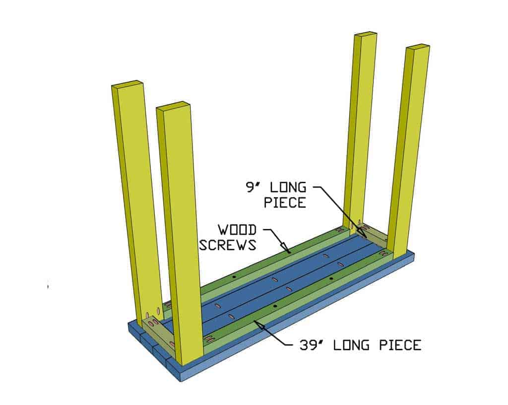 installing leg supports for DIY farmhouse entryway table