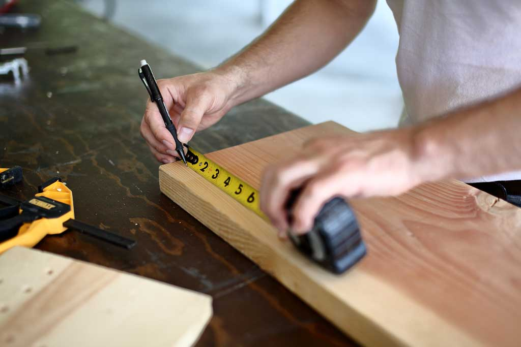 measuring and marking on 2x12 board