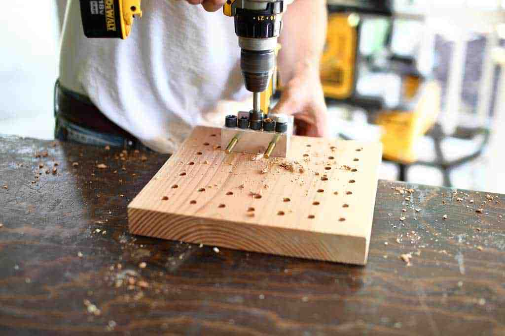 drilling holes for DIY memory chess game
