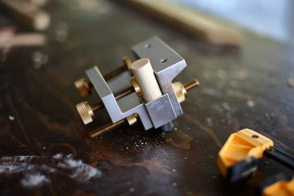 clamping chess piece in dowelmax jig