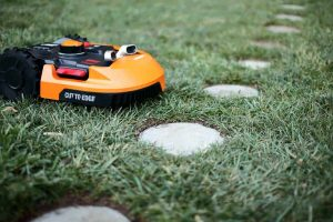 diy stepping stone with worx robotic lawn mower