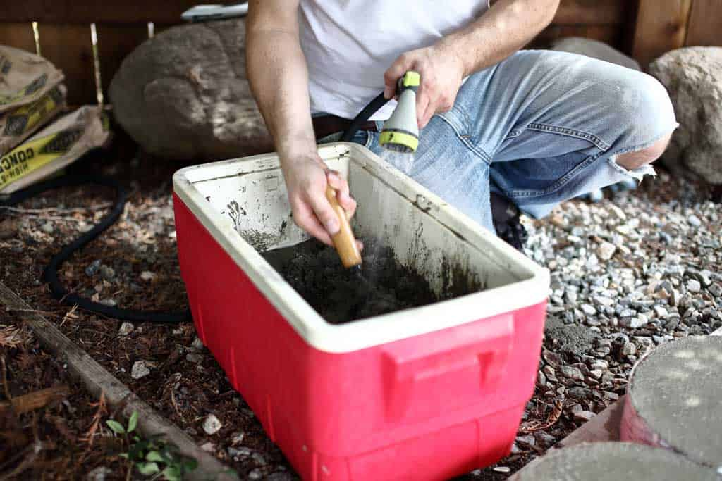 mixing concrete in the container for diy stepping stone