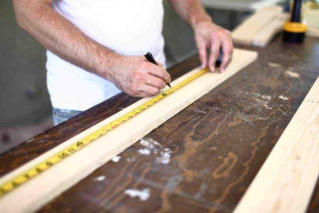 measuring wood for DIY towel bar