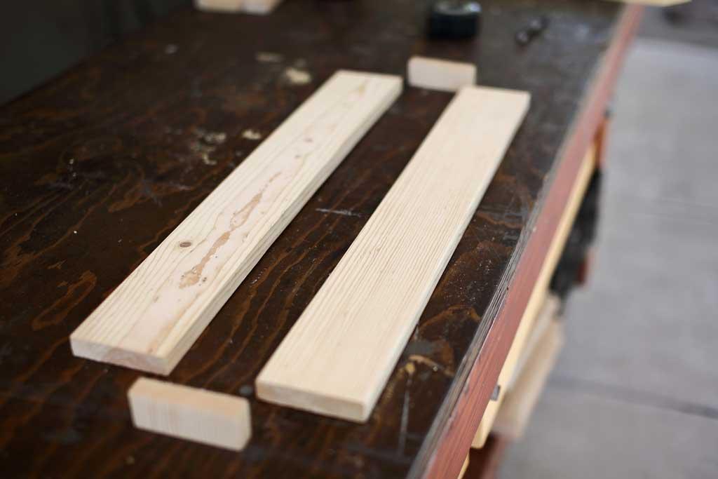 wood boards for DIY towel bar