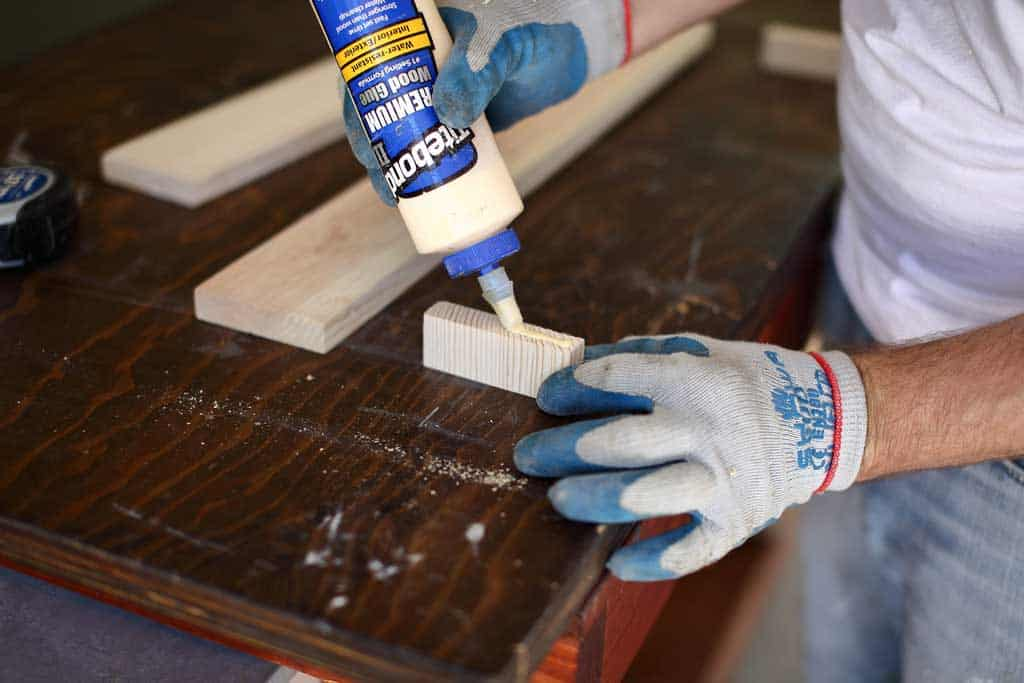 gluing wood pieces together