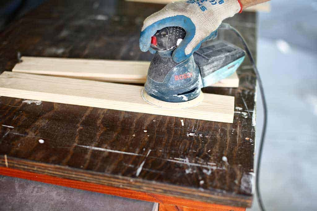 using random orbital sander to send wood