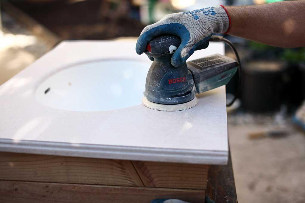 sanding vanity top