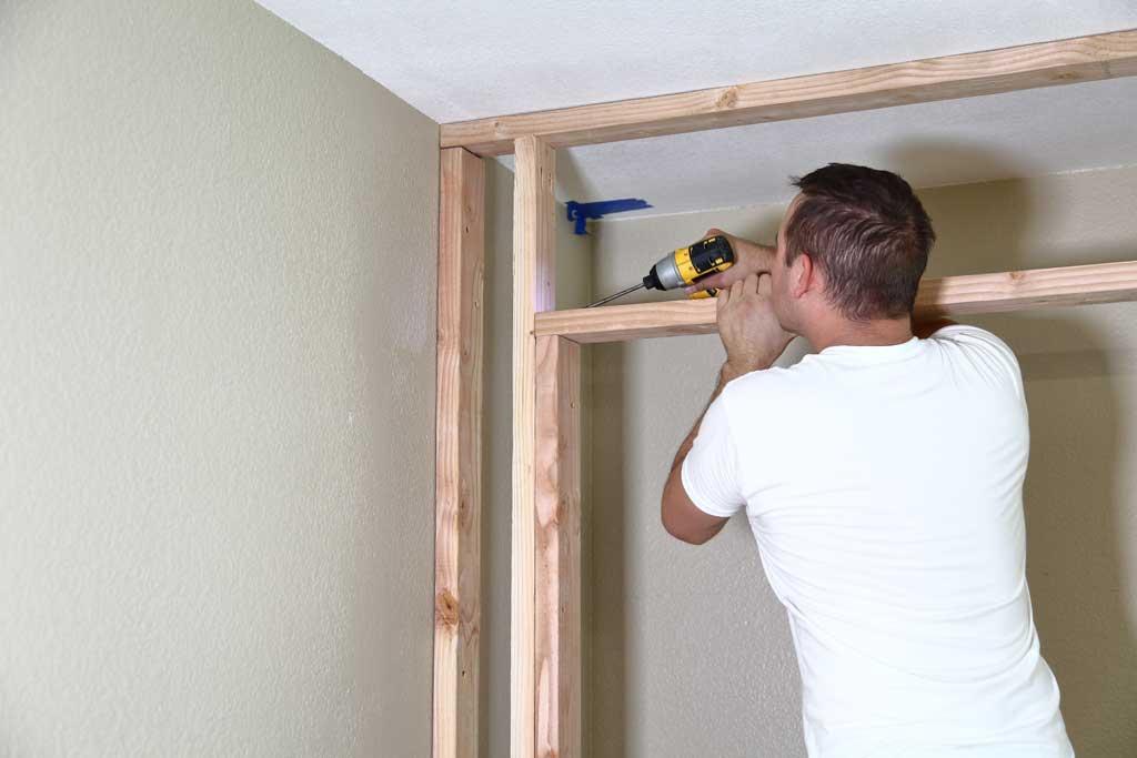attaching header with pocket hole screws for a closet