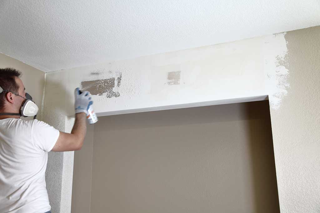 spraying texture over drywall
