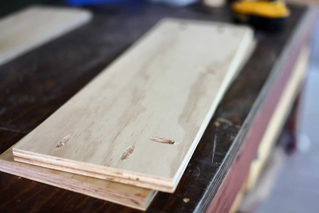 pocket holes drilled on plywood