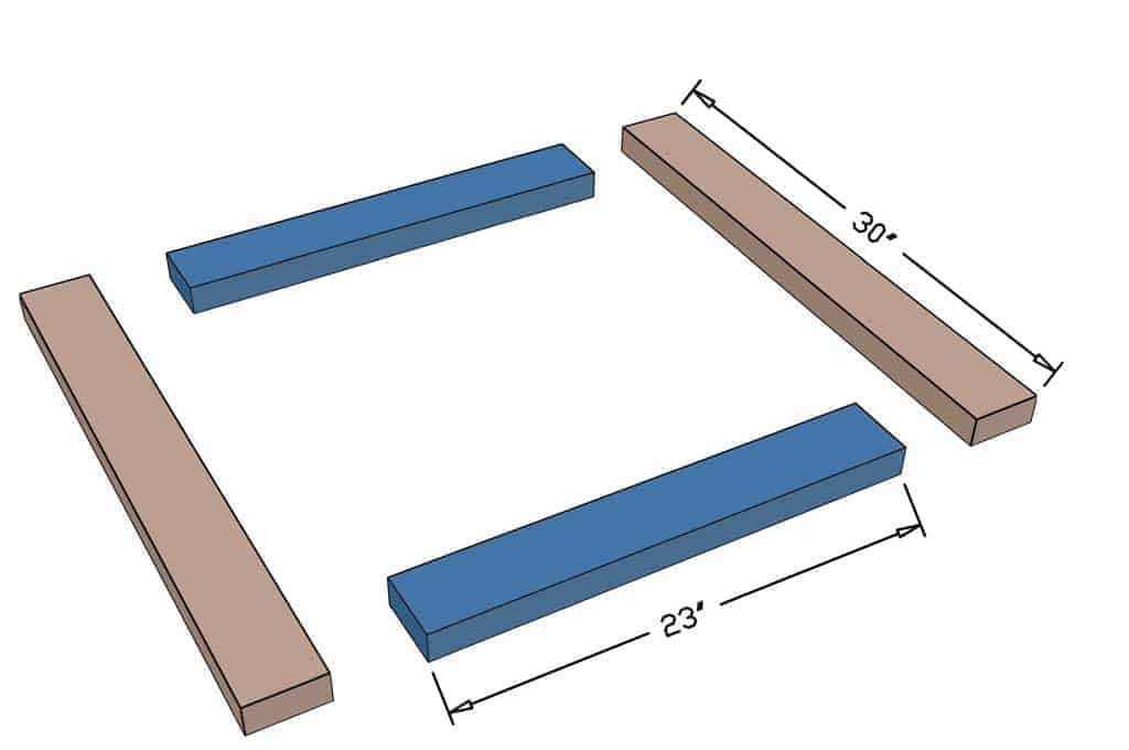 boards for the base of the DIY pyramid gutter planter