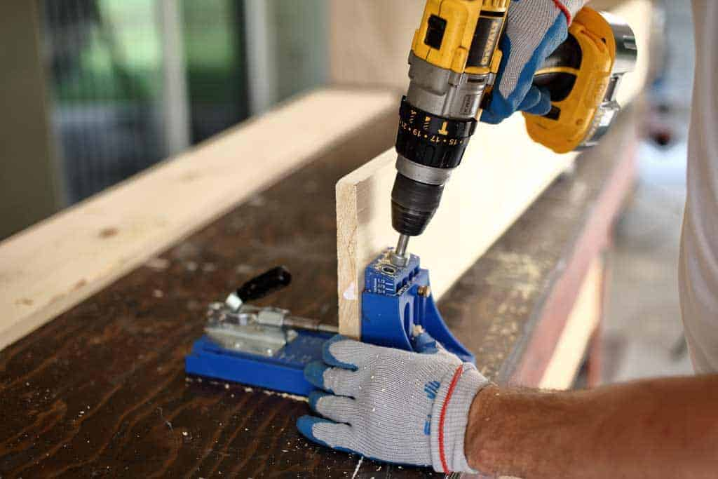 drilling pocket hole in wood